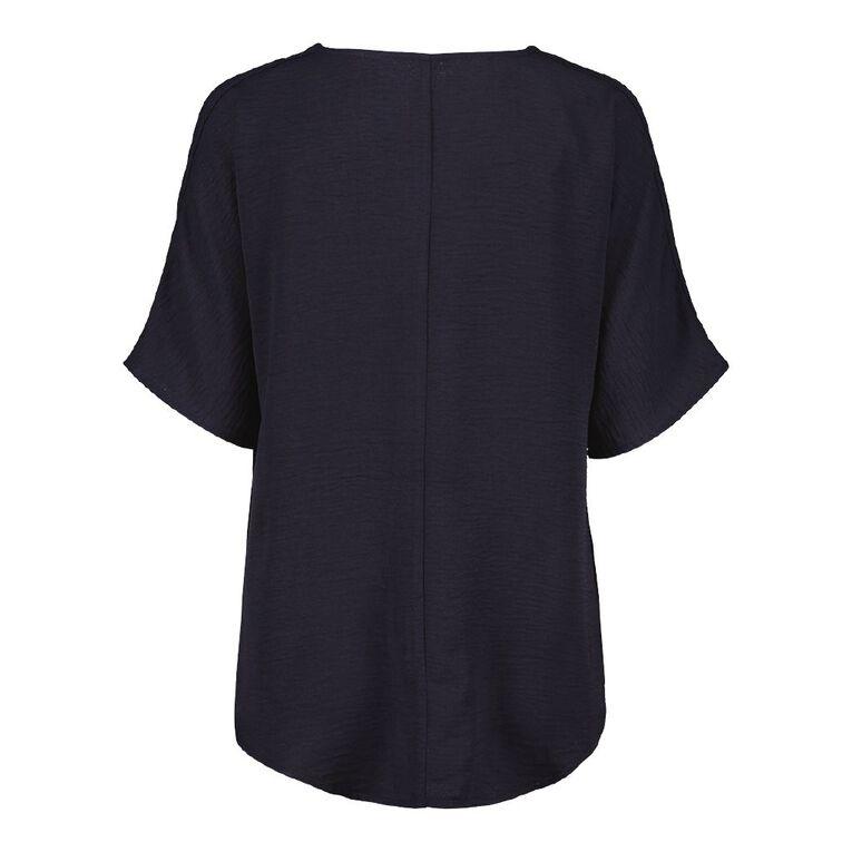 H&H Women's Twist Front Blouse, Blue Dark, hi-res