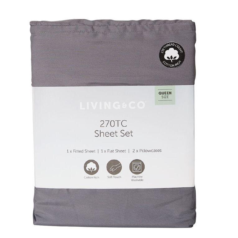Living & Co Sheet Set Cotton Rich 270 Thread Count Charcoal Single, Charcoal, hi-res