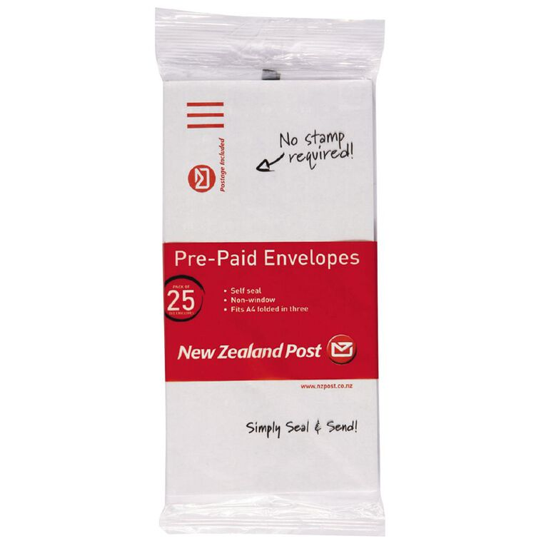 New Zealand Post DLE Envelope Prepaid Non Window 25 Pack, , hi-res