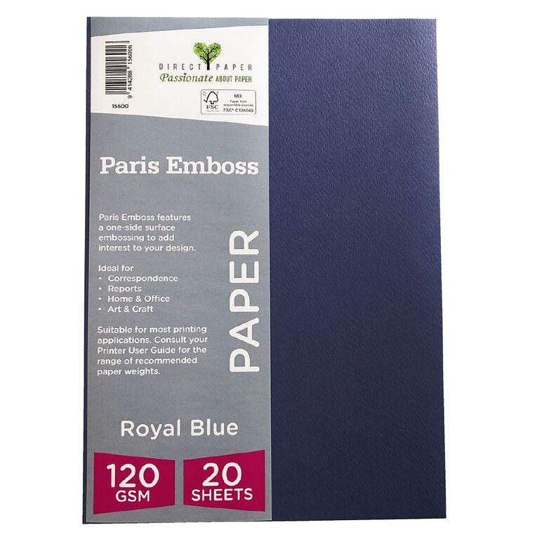 Direct Paper Paris Emboss 120gsm A4 20 Pack Royal Blue, , hi-res