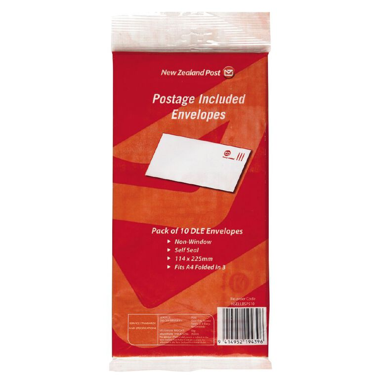 New Zealand Post Postage Included Envelope DLE 10 Pack, , hi-res