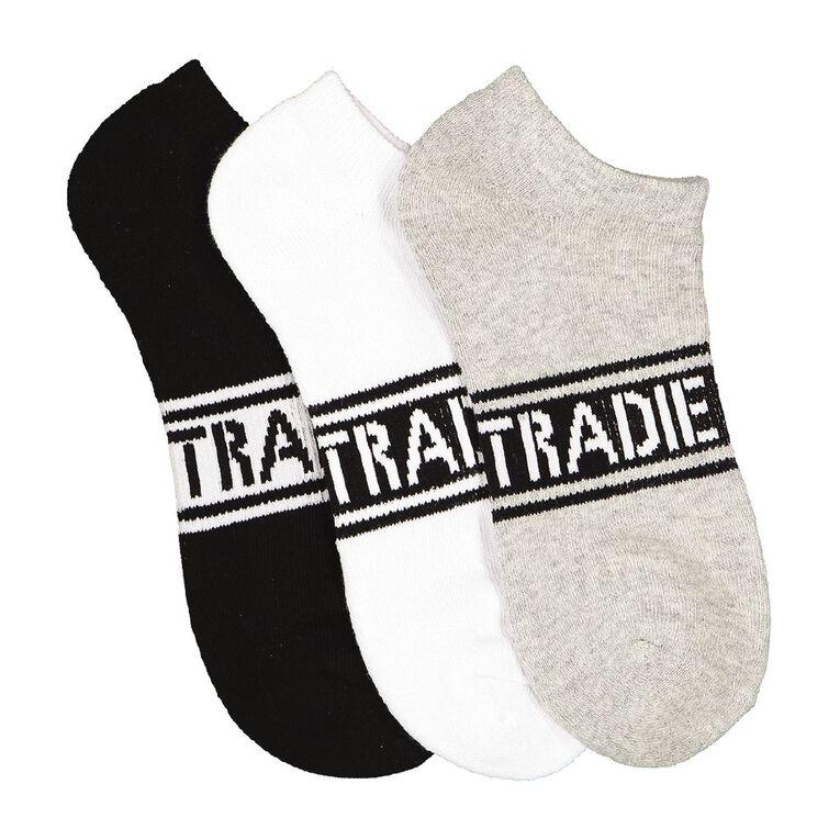 Tradie Women's No Show Sport Socks 3 Pack, Black/White, hi-res