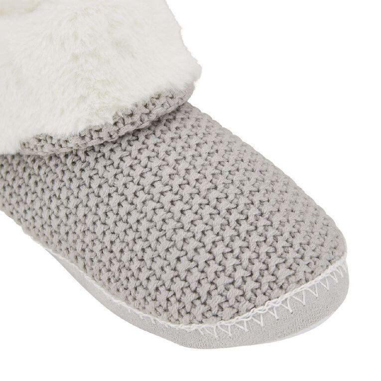 H&H Women's Knit Fleece Cuff Slipper Boots, Grey, hi-res