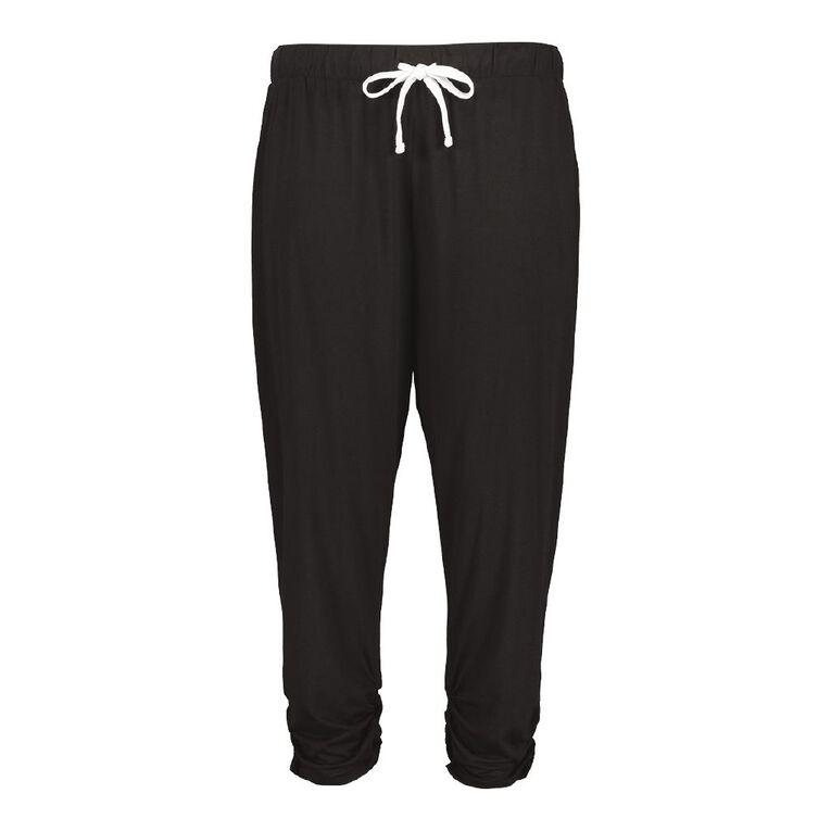 H&H Women's Plus 3/4 Jersey Harem Pants, Black, hi-res