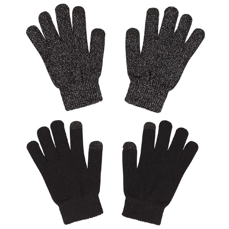 Young Original Kids' Touch Screen Gloves 2 Pack, Black, hi-res