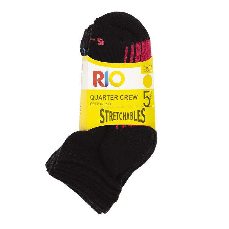 Rio Boys' Stretchables Quater Crew Socks 5 Pack, Black, hi-res image number null