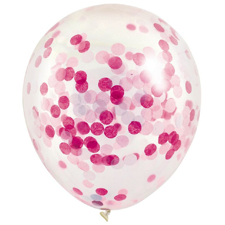 Artwrap Party Balloons Confetti 30cm Pink 3 Pack, , hi-res