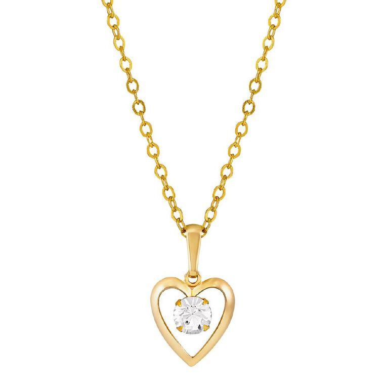 9ct Gold CZ Heart Pendant, , hi-res