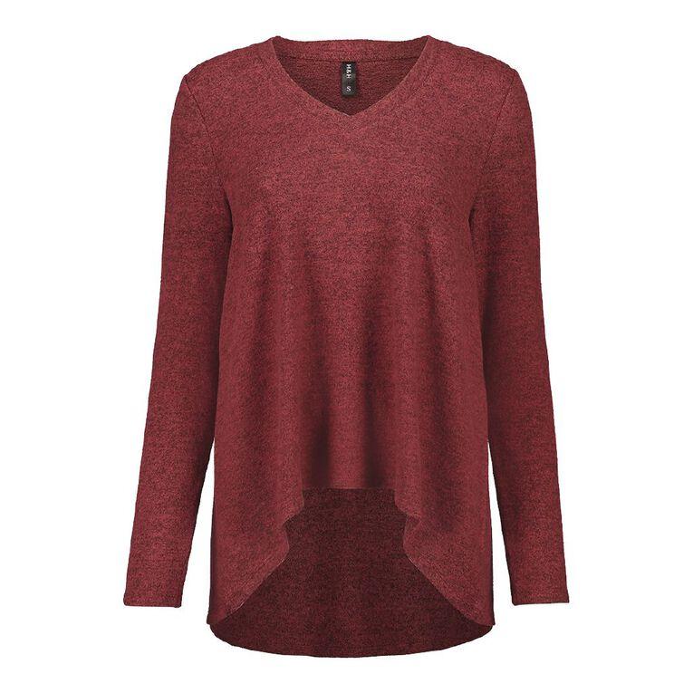 H&H Women's Long Sleeve Brushed Knit Swing Top, Red Dark, hi-res