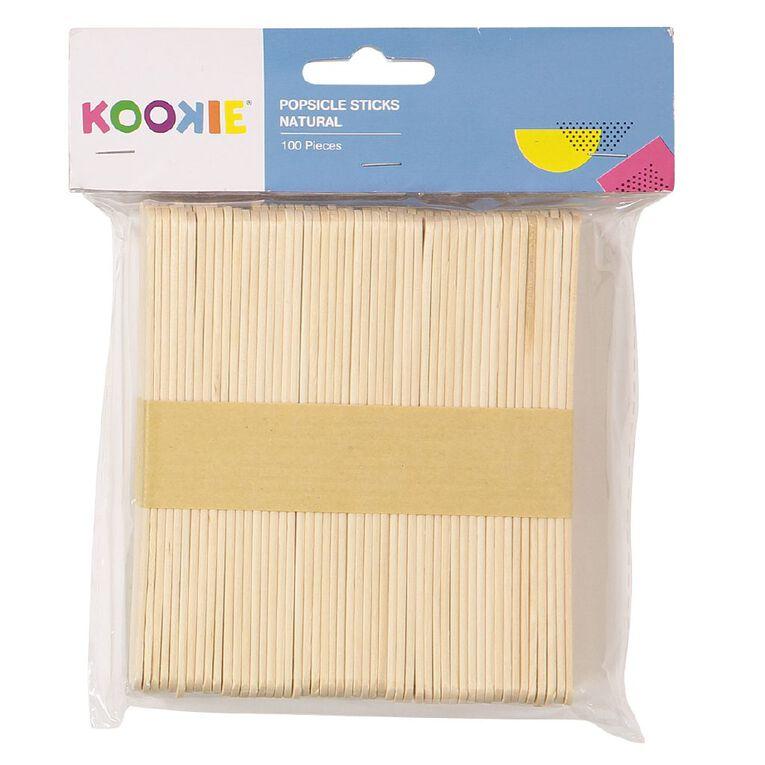Kookie Popsicle Sticks Natural 100 Pack, , hi-res