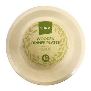 SURV. Wooden Dinner Plates 26cm 10 Pack