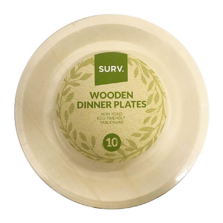 SURV. Wooden Dinner Plates 26cm 10 Pack, , hi-res