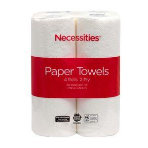 Necessities Brand Kitchen Towel White 60 Sheet 4 Pack Tall