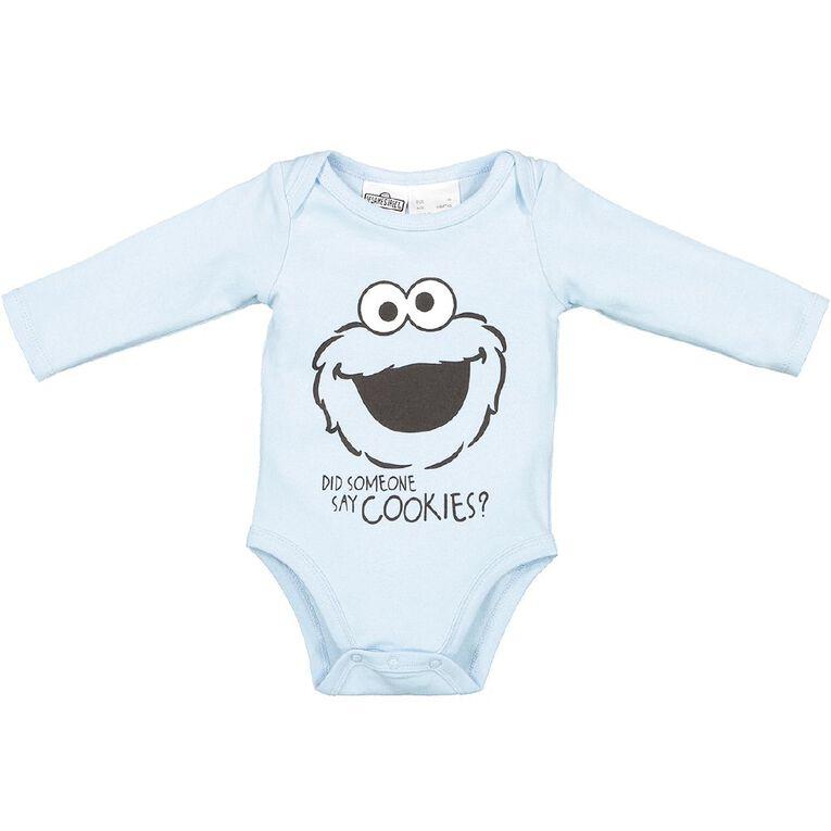 Sesame Street Cookie Monster Long Sleeve Bodysuit, Blue Light, hi-res
