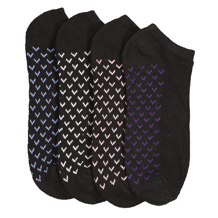 Active Intent Women's No Show Cushioned Socks 4 Pack, Black/White, hi-res image number null