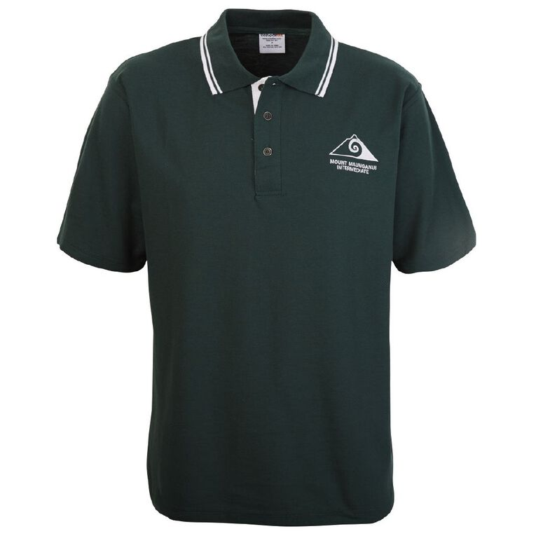 Schooltex Mt Maunganui Intermediate Short Sleeve Polo with Embroidery, Bottle/White, hi-res