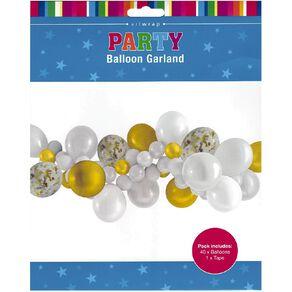 Artwrap Party Balloon Garland White & Gold 40 Pack