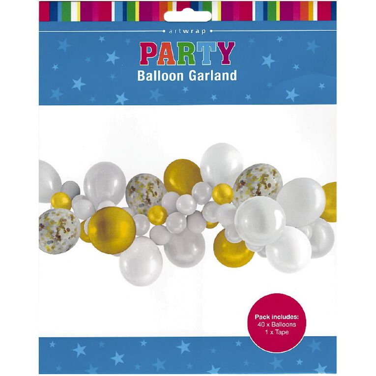 Artwrap Party Balloon Garland White & Gold 40 Pack, , hi-res