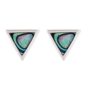 Sterling Silver Paua Triangle Stud Earrings