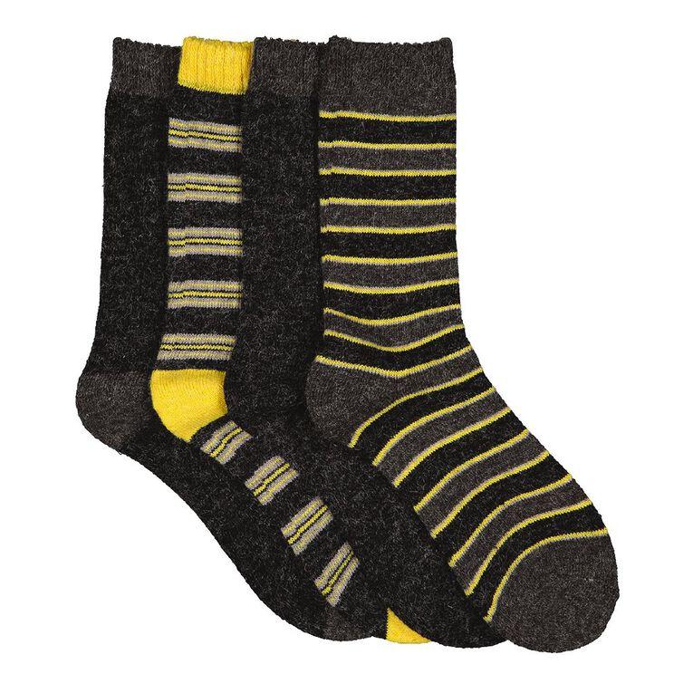 H&H Boys' Home Socks 4 Pack, Black, hi-res