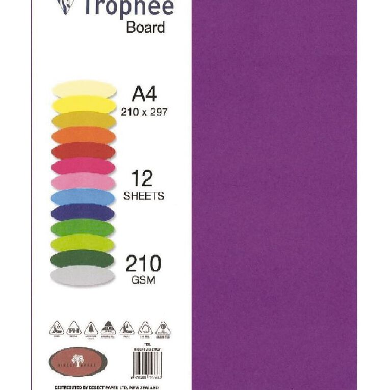 Trophee Board 210gsm 12 Pack Intensive Lilac Purple A4, , hi-res image number null