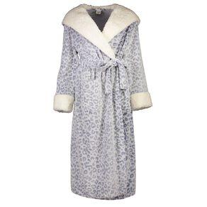 H&H Women's Coral Fleece Hooded Leo Robe