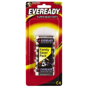 Eveready Super Heavy Duty Batteries C 4 Pack