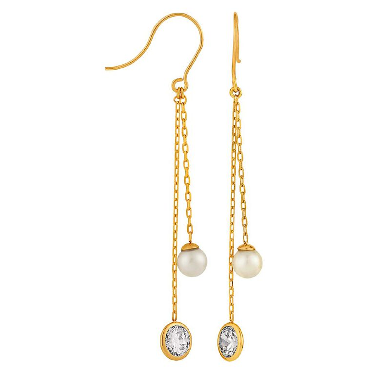 9ct Gold Rubover CZ Drop Earrings, , hi-res