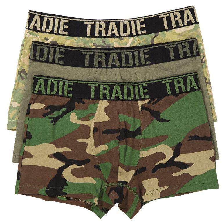 Tradie Men's Printed Trunks 3 Pack, Green, hi-res