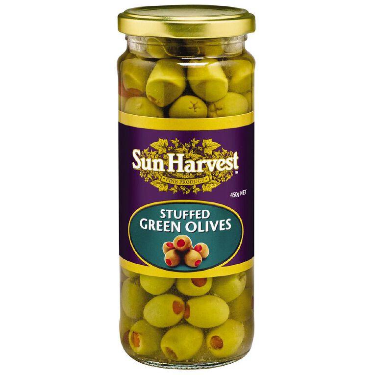 Sun Harvest Olives Green Stuffed 450g, , hi-res