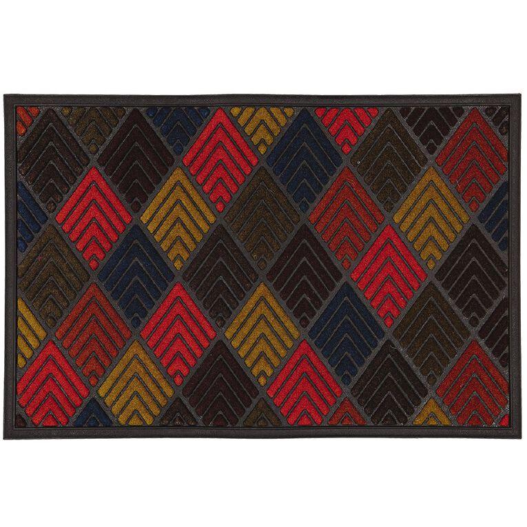 Living & Co Scrape N'Sorb Diamond Door Mat Multi-Coloured 60cm x 90cm, Multi-Coloured, hi-res