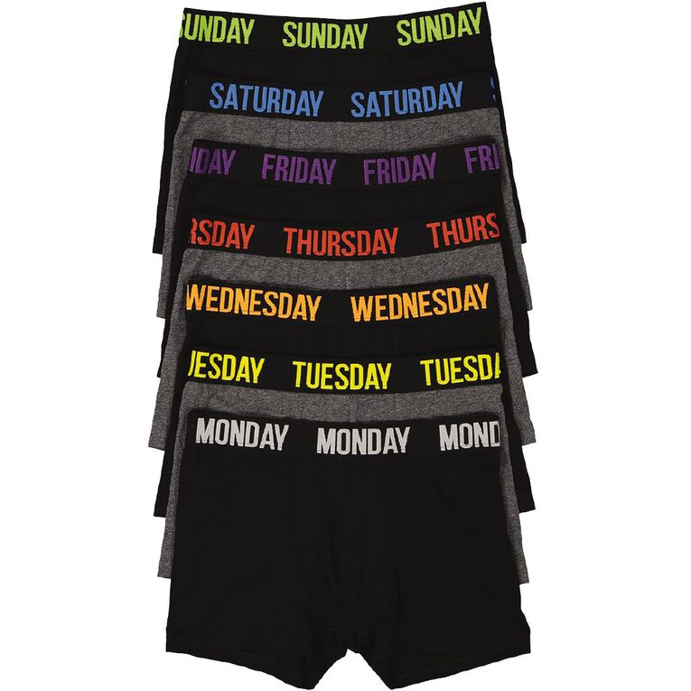 H&H Weekday Trunks 7 Pack, Black, hi-res image number null