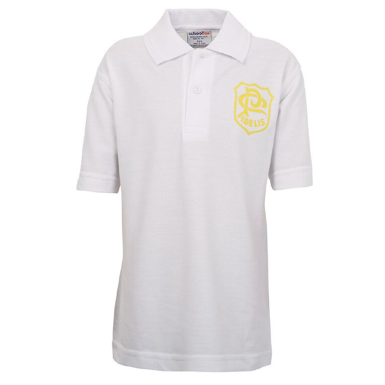 Schooltex St Patrick's Panmure Short Sleeve Polo with Screenprint, White, hi-res
