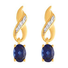 0.10 Carat Diamond 9ct Gold Synthetic Sapphire Swirl Drop Earrings