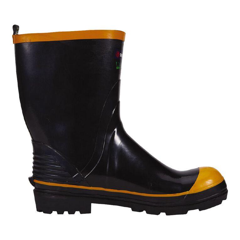 Skellerup Steel Toe Gumboots, Black/Orange, hi-res