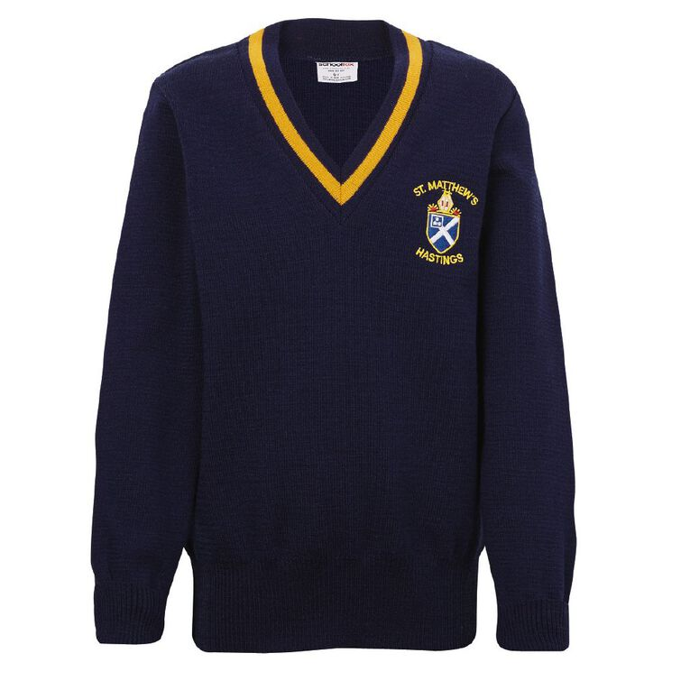 Schooltex St Matthew's Hastings Jersey with Embroidery, Royal/Gold, hi-res
