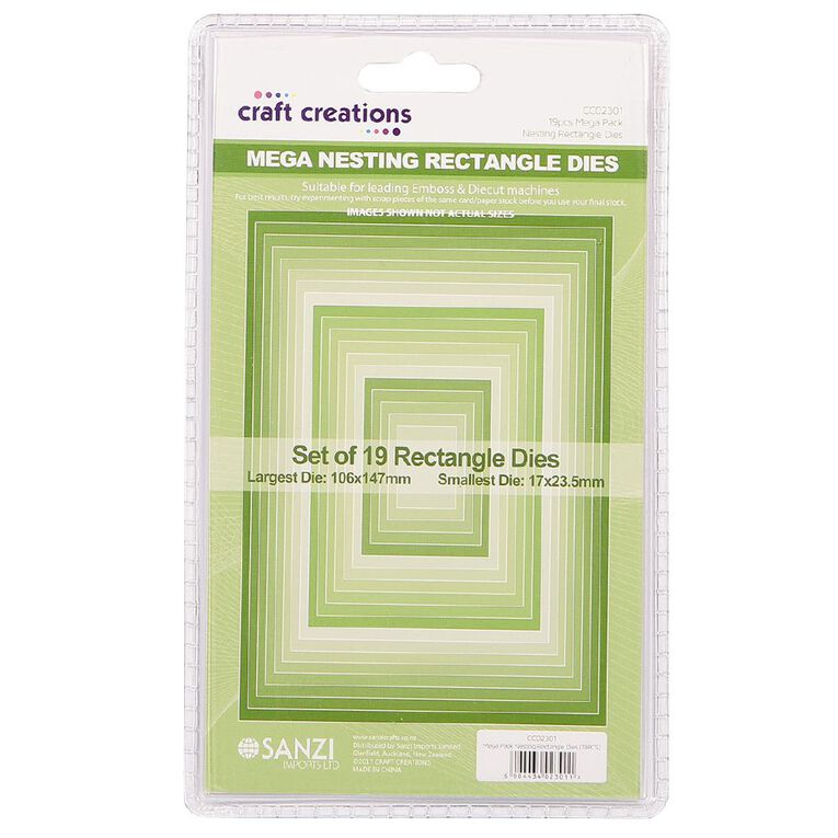 Craft Creations Nesting Dies Rectangle 19 Piece, , hi-res