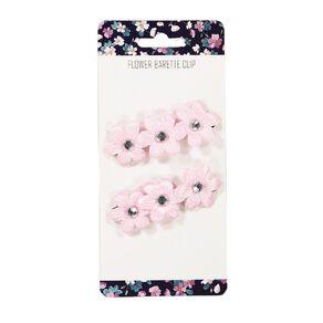 3 Flower Barette Clip Pink