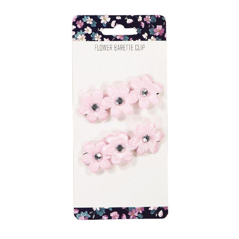 3 Flower Barette Clip Pink, , hi-res