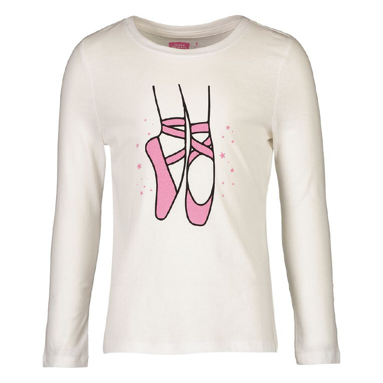 Young Original Girls' Long Sleeve Print Tee, White, hi-res image number null