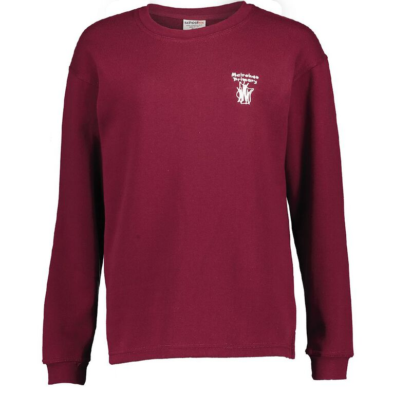 Schooltex Mairehau Primary Crew Tunic Sweatshirt with Embroidery, Burgundy, hi-res