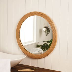 Living & Co Textured Round Mirror Natural 65cm