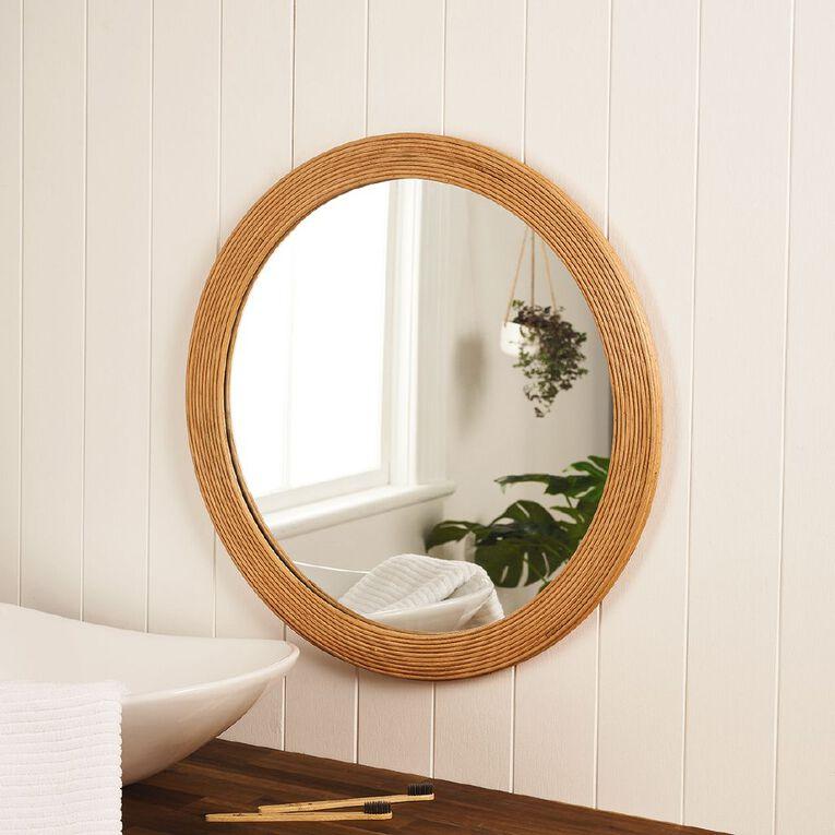 Living & Co Textured Round Mirror Natural 65cm, , hi-res