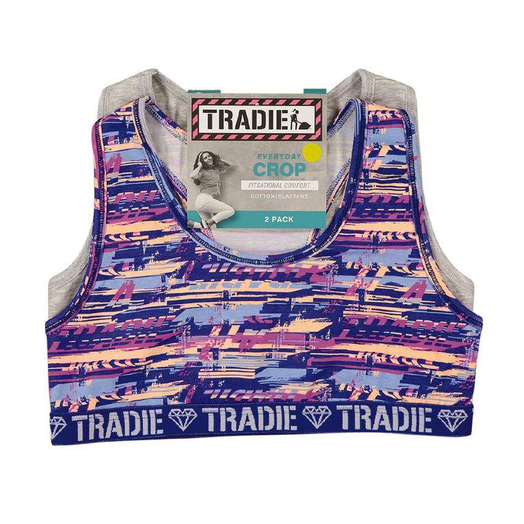 Tradie Girls' Crop 2 Pack, Blue/Grey, hi-res