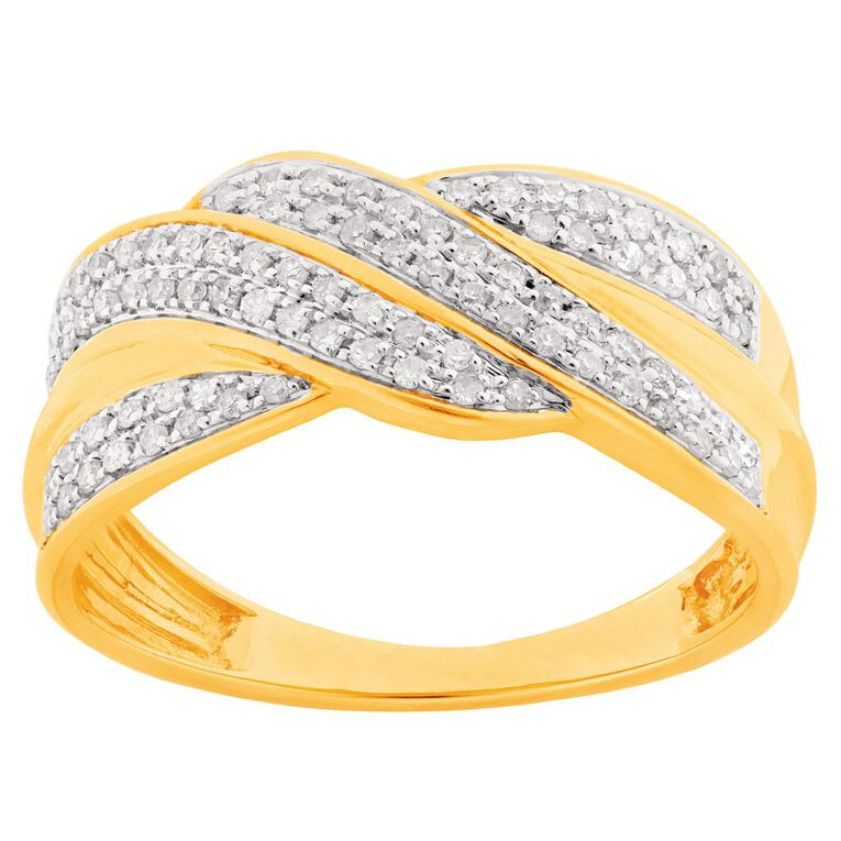 0.25 Carat Diamond 9ct Yellow Gold Crossover Cluster Dress Ring, Yellow Gold, hi-res
