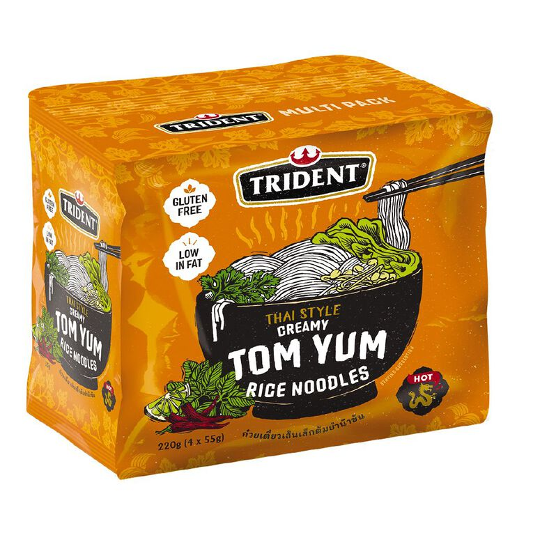 Trident Rice Noodles Tom Yum 4 Pack 55g, , hi-res image number null