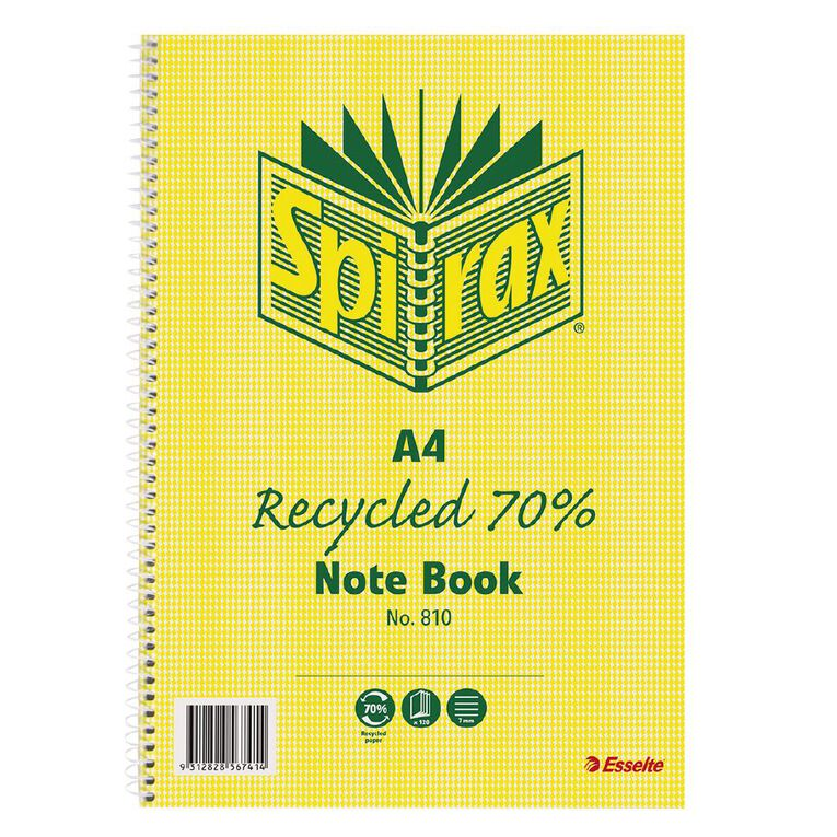 Spirax 810 Recycled Notebook 120 Page A4, , hi-res