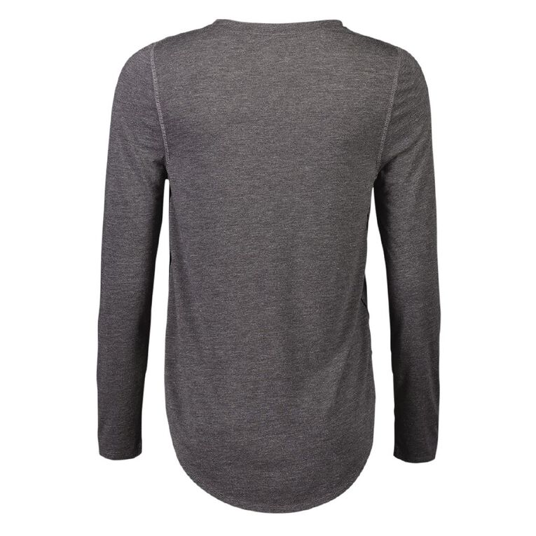 Active Intent Women's Long Sleeve Exagerated Scoop Hem Tee, Charcoal/Marle, hi-res
