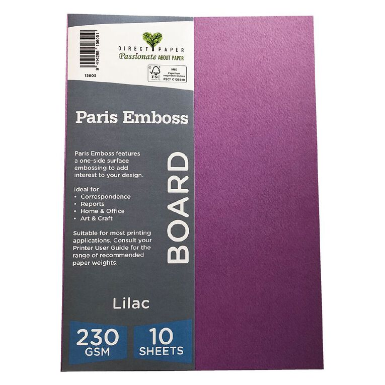 Direct Paper Paris Emboss 230gsm A4 10 Pack Lilac, , hi-res image number null