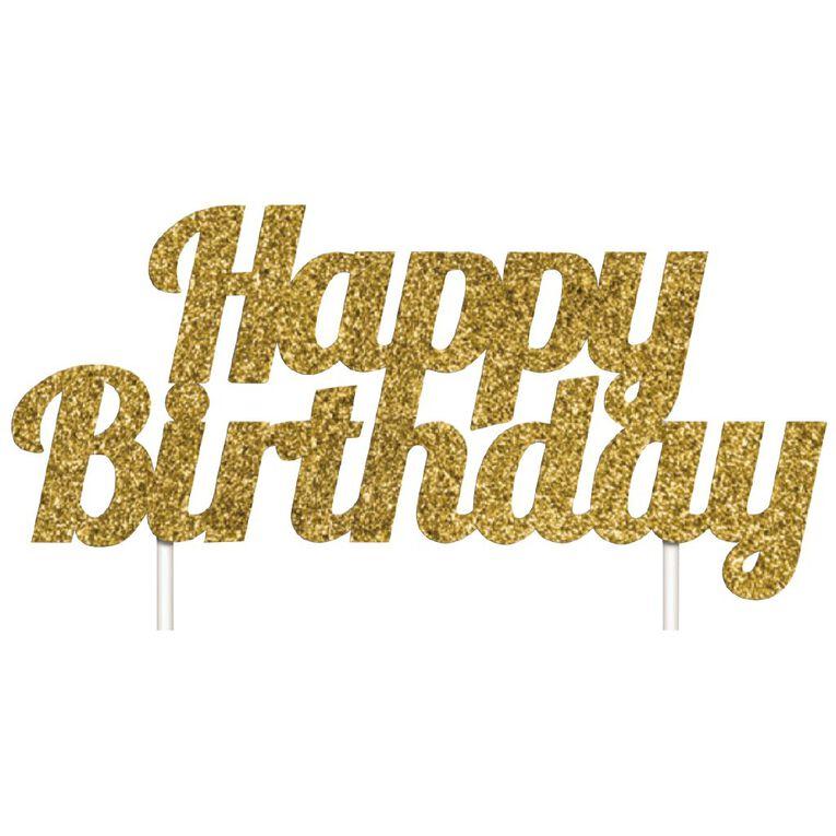 Artwrap Birthday Glitter Cake Topper Gold, , hi-res